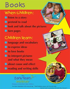 The Early Years Institute shares what children learn from books and literacy activities!  -Repinned by Totetude.com