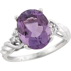 14k White Gold Amethyst Oval Diamond Accent Classic Twisted Band Ladies Ring -- Want additional info? Click on the image.