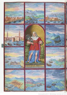 [Dixième miniature : Personnification de la Syrie, entourée de dix tableaux : (1) Venise du côté de Trévise, (2) port de Venise, (3) forteresse et plage de Corfou, (4) partie de l'île de Chypre, port et ville de Famagouste, (5) Tripoli, (6) forteresse de Milo, (7) Zante et Corfou, (8) ville de Flessena-Vecchia , (9) retour de Magius à Venise, (10) Zara, Zenebico, Corfou, Vrane];