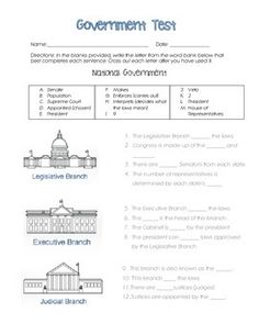 This test covers National, State, and Local government in the United States. The questions do not apply to any specific state or city, so this test will work for anyone! There are 22 questions + 3 extra credit. This includes matching, multiple choice, and short answer questions.