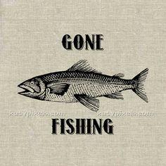 INSTANT DOWNLOAD  Gone Fishing Vintage Illustration by katypixels, $1.00