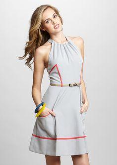 JESSICA SIMPSON  Halter Trim Border Dress with Belt