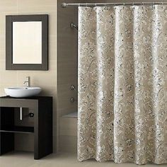 CROSCILL Natalia Fabric SHOWER CURTAIN Blue Silver Taupe Cream Earth Tones