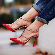 Red Valentino Rockstud Pumps. Necessary. Get yours: http://rstyle.me/n/ezt334ni6