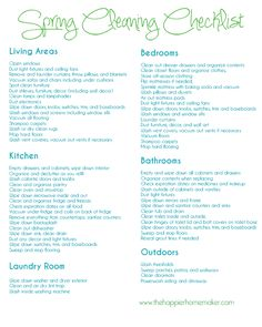 Free Spring Cleaning Printable Checklist | The Happier Homemaker | The Happier Homemaker