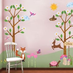 Forest Wall Sticker Kit for Girls Room Mural - FREE PERSONALIZATION