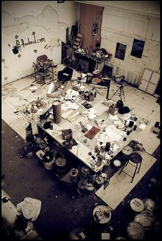 Messy, but fabulously large art studio, I would just live there, pull me up a lawn chair..