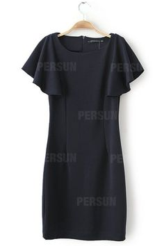 Elastic Waist Lotus Sleeve Dress In Black [SHWM00060] - PersunMall.com
