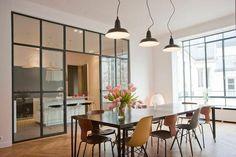 Séparation de cuisine avec fenêtre style atelier grand format