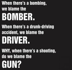 The problem is the unfrettered access to guns by criminals and mentally unbalanced. No one thinks the gun is to blame. BTW it is illegal to possess a bomb so not a really good example for 2nd amendment evangelists.