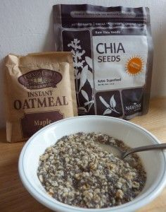 A quick easy vegan snack - oatmeal with chia seeds