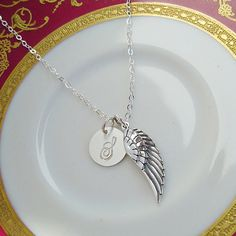 Angels Wing Necklace Sterling Silver Personalized by queeniejewels, $34.95