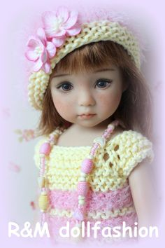"R M Dollfashion Cute Line OOAK Handknit Set for Effner Little Darling 13"" Dolls 