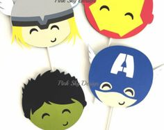 12 Avengers favor boxes | Iron Man, Hulk, Thor, Captain America treat box…