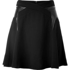 The Kooples A-Line Skirt with Leather Trim (€110) ❤ liked on Polyvore featuring skirts, bottoms, black, leather circle skirt, a line skirt, a line flared skirt, flared skirt и flared leather skirt