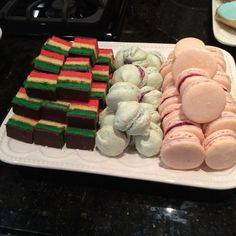 Macarons and rainbow cookies