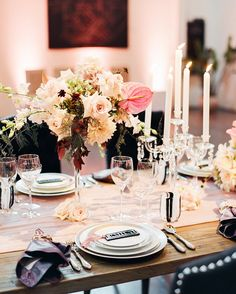 How stunning is this tablescape? For the Party Slate San Francisco Launch Party design, we were inspired by a darker more sophisticated color palette. Black velvet dining chairs were paired with blush and mauve table linens. Crystal candelabra and black and white glassware added such interest to the table. Our talented floral designer, Callahill Floral, completed the look with these stunning blush, dusty rose, mauve, and crimson centerpieces.  What is your favorite detail about this… Crystal Candelabra, La Tavola Linen, Merry And Bright, Black Velvet, Photo Booth, Happy Holidays, Tablescapes, Wedding Events, Floral Design