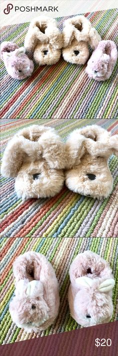 2 PAIR SLIPPERS  ZARA/NORDSTROM PUPPY/BUNNY size 5 2pairs of barely worn slippers.  The tan puppy ones are from Zara and the pink bunny slippers from Nordstrom.  Both fit size 5 even though the bunnies are not marked 5. Zara Shoes Slippers