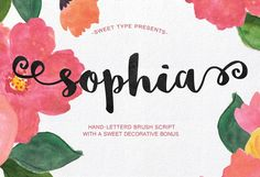 Sophia Hand-lettered by Emily Spadoni on @creativemarket  Fonts, Typography, Cursive Fonts, Branding Fonts, Graphic Design, Calligraphy, Logo Font