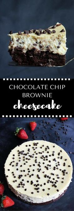 Chocolate Chip Brownie Cheesecake - a rich brownie crust with a silky, cream cheese filling speckled with chocolate chips and topped with berries. Decadent and so delicious! Gluten free. | passmesometasty.com