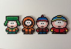 Come on down to South Park and meet some friends of mine.  Made with high-quality Perler beads, own the SP gang and stick them on your fridge, walls or even in your office. They come individually or you can get the complete set!  Average Size: 4 x 3 Cartman: 4 x 4  **This item is readymade and will be shipped within 1-2 business days. Feel free to ask any questions and I will do my best to answer them as quick as I can.