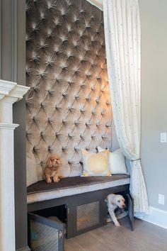 I love this gray velvet tufted wall.