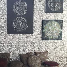 Manhole Paintings and Native Tools Wallpaper by Merenda Wallpaper at Private Residence, New York Accent Wallpaper, More Wallpaper, Wall Installation, New Artists, Designer Wallpaper, Nativity, How To Draw Hands, Tapestry, Paintings