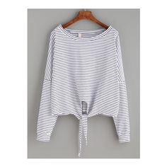 SheIn(sheinside) White Striped Tie Front T-shirt ($12) ❤ liked on Polyvore featuring tops, t-shirts, shirts, blusas, sweaters, white, striped long sleeve t shirt, white shirt, cotton spandex t shirt and white long sleeve shirt