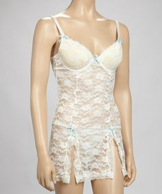 Loving this Ivory Lace Chemise & G-String - Women on #zulily! #zulilyfinds
