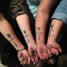 Four true arrows. | 19 Sibling Tattoos For When There's Two Or More Of You
