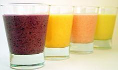 Smoothies! Yummy berries, mangoes and peaches -- with clever fat-blasting add-ins for Phase 1 and Phase 3 of the #FastMetabolismDiet