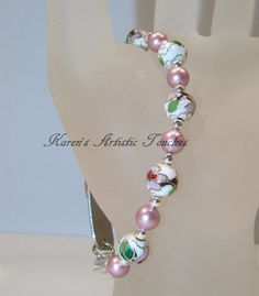 White Cloisonne Pink Swarovski Pearl Beaded by ArtisticTouches, $12.00