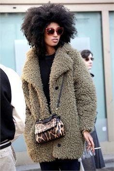 Julia Sarr-Jamois, fuzzy coat #winter #style