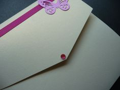Fuschia Pink Butterfly themed Pocketfold style Wedding invitation