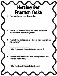 best fractions images  math fractions teaching math teaching  teaching third  hershey bar fractions
