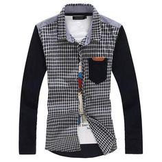 94d16ae3 Mixed Media Long Sleeve Shirt Men Casual, Casual Menswear, Casual Shirts  For Men,