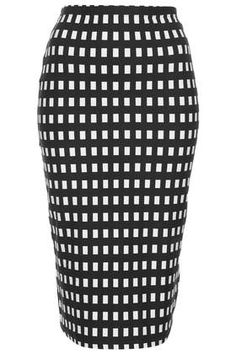 Black Gingham Tube Skirt by Topshop. Perfect for creating an affordable version of the Karen Millen Bodycon dress with a similar skirt.