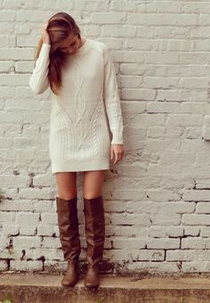 Loving the simplicity and the style of this cream colored sweater dress paired with knee high boots. -Studio 3:19