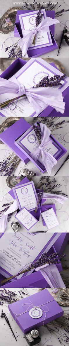 Lavender Wedding Invitations in a box ! #weddingideas #sundayinspiration