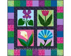 Morning in May: 4 Flower Quilt Block Patterns, paper pieced quilt patterns, INSTANT DOWNLOAD PDF, flower patterns, flower quilt patterns