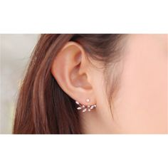 Gold Plated Leaf Crystal Ear Jacket Double Sided Swing Stud Earrings (56 DKK) ❤ liked on Polyvore featuring jewelry, earrings, jewelry & watches, silver, crystal stud earrings, gold plated jewelry, double sided stud earrings, gold plated stud earrings and crystal jewelry