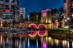 Geometry in the Real World, The Woodlands, Waterway, Houston, Texas - Slideshow. The Woodlands Houston, Woodlands Waterway, Houston Apartment, River Walk, City Lights, Night Lights, The Real World, Beautiful Space, Geometry