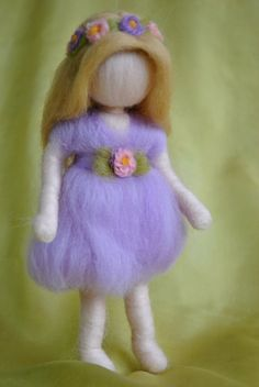 Waldorf inspired needle felted doll mobile: Violet spring fairy by Wooly Bully, Spring Fairy, Needle Felting Tutorials, Fairy Clothes, Felt Fairy, Doll Tutorial, Fairy Dolls, Wet Felting, Felt Dolls
