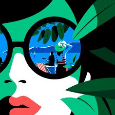 Malika Favre portrait illustration iconic lips and sunglasses reflection image restored detail from Les Garden Parties de Lausanne poster Art And Illustration, Portrait Illustration, Graphic Design Illustration, Illustrations, Malika Fabre, Drawing Sketches, Drawings, Paper Artwork, Festival Posters