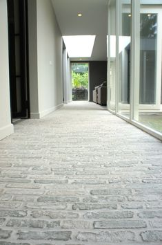 Entry Stairs, Hallway Ideas Entrance Narrow, Modern Hallway, Entry Foyer, Brick Paving, Brick Flooring, Brick Interior, Interior Modern, Castle Stones