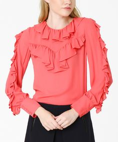 Loving this Coral Ruffle Scoop Neck Top on #zulily! #zulilyfinds
