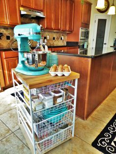 Baking Station-a great use for an ikea cart? Couldnt use the mixer but awesome for baking storage - Storage Cart - Ideas of Storage Cart Bakers Kitchen, New Kitchen, Kitchen Dining, Kitchen Decor, Awesome Kitchen, Kitchen Ideas, Baking Storage, Baking Organization, Organization Ideas