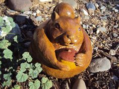 Squirrel Stone ooak Wood Finish inside by MountainArtCasting, $35.95