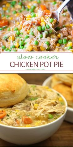 A delicious mouth-watering real simple Slow Cooker Chicken Pot Pie is the perfect comfort food for the cold weather! This dinner recipe is jam-packed with flavor and will quickly become a favorite at your holiday table. Save this recipe for later! Slow Cooker Huhn, Slow Cooker Recipes, Cooking Recipes, Pie Recipes, Slow Cooker Dinners, Recipies, Slow Cooker Meals Healthy, Slow Cooker Recipe Videos, Best Food Recipes