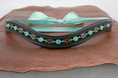 """Beaded Leather Browband for Dressage or any English Bridle - """"Diamondback Dazzler"""" by BlueBayDesigns on Etsy"""